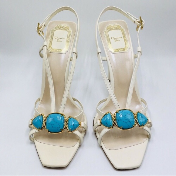 Dior Shoes - Christian Dior White/Turquoise Heeled Sandals